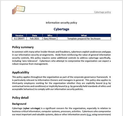 Cybertage (cyber sabotage) policy