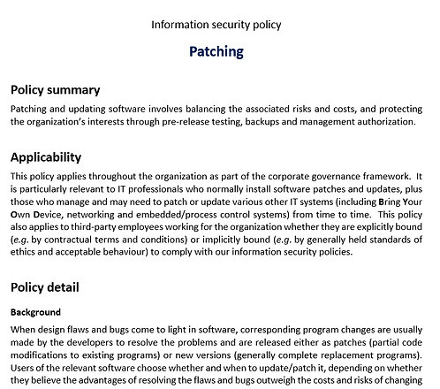 Patching policy