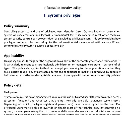 IT systems privileges policy
