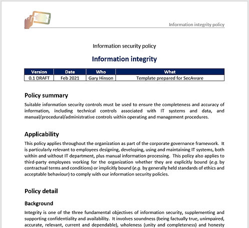 Information integrity policy