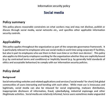 Social media security policy