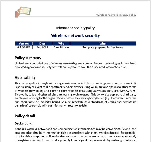 Wireless network security policy