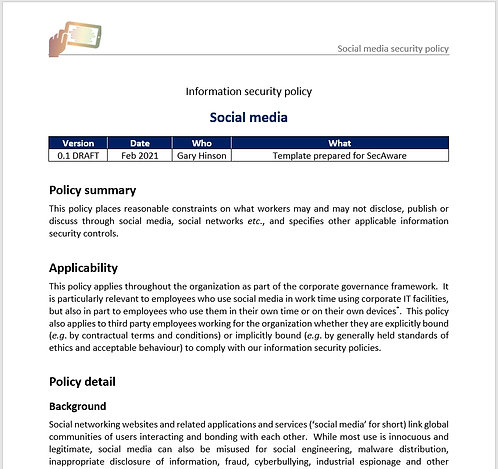 Social media security policy