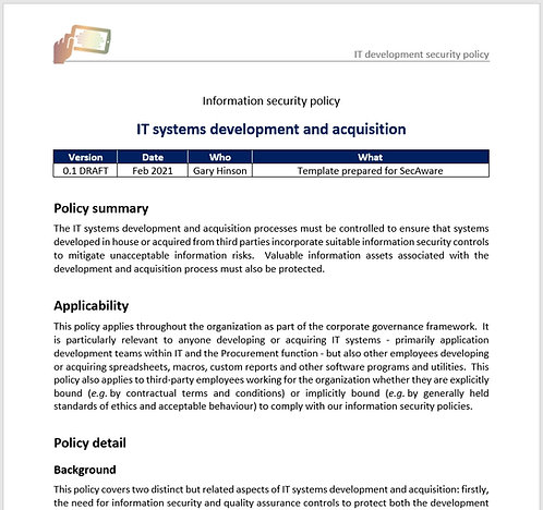 IT systems development & acquisition security policy