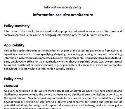 Infosec architecture policy