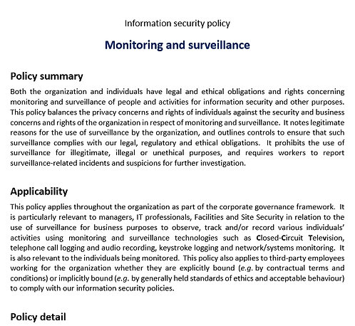 Monitoring and surveillance policy