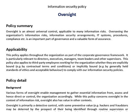 Oversight policy