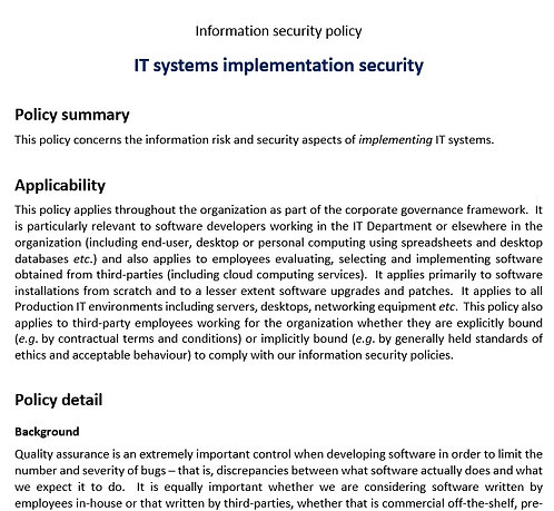 IT systems implementation security policy