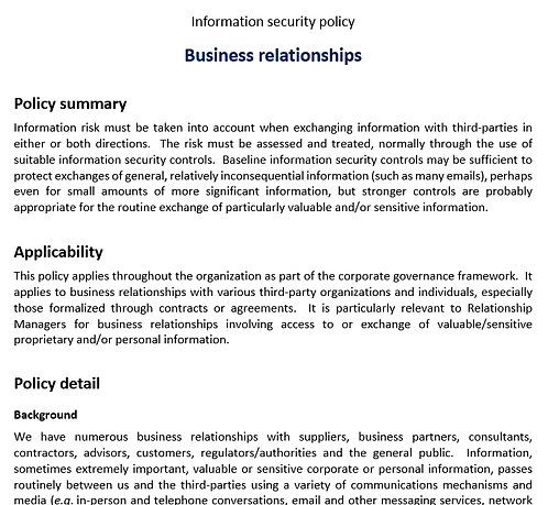 Business relationship security policy
