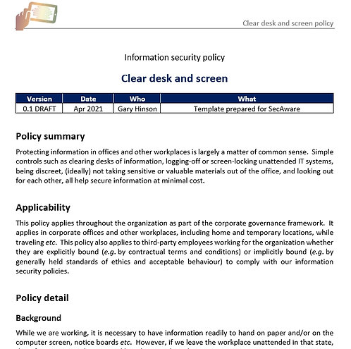 Clear desk and screen policy