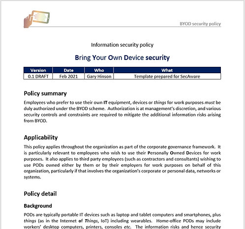 BYOD security policy