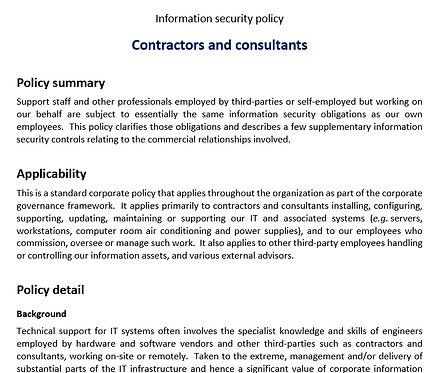 Contractors and consultants policy