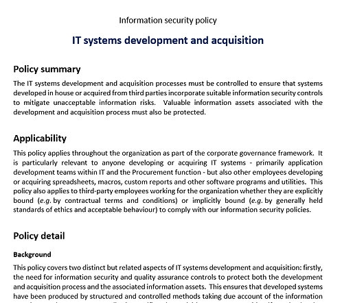IT systems development & acquisition policy