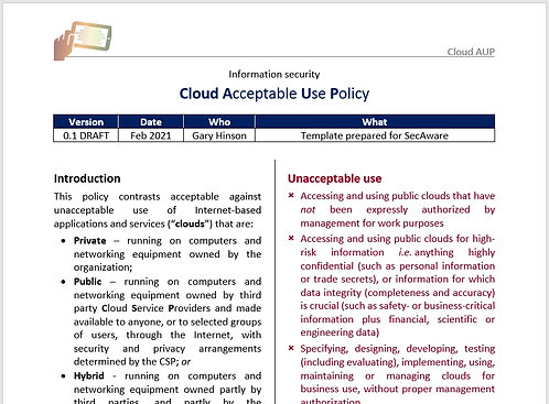 Cloud Acceptable Use Policy