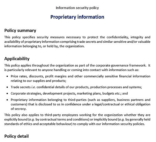 Protecting proprietary information policy