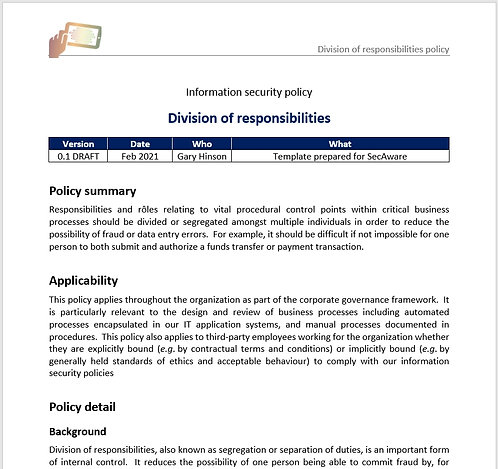 Division of responsibilities policy