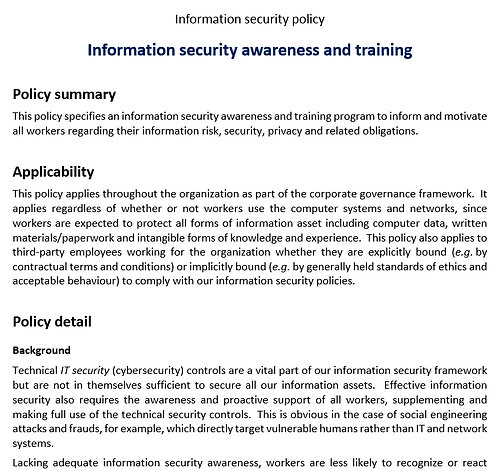 Infosec awareness and training policy