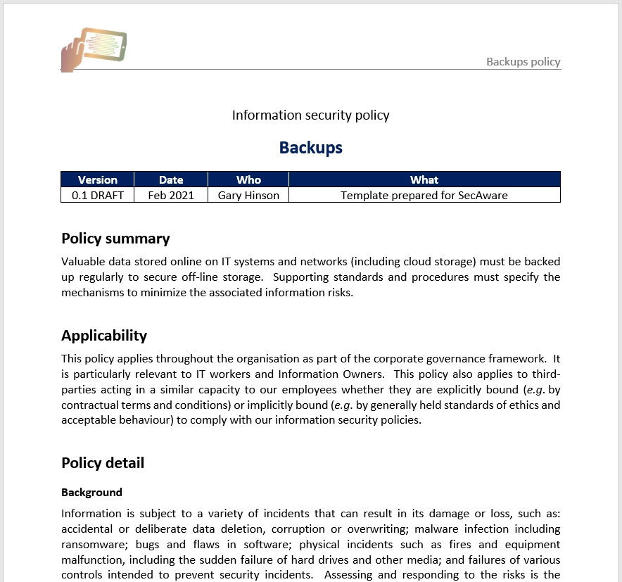 Topic-specific policy 7/11: backup