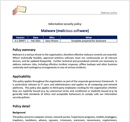Malware policy
