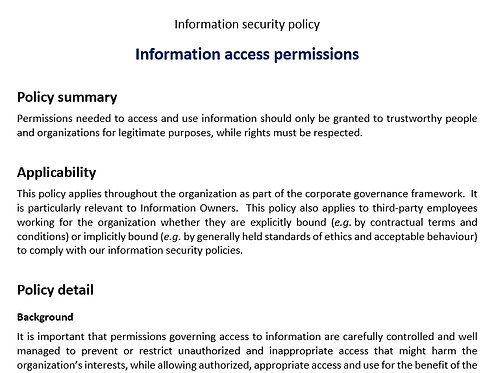 Information access permissions policy