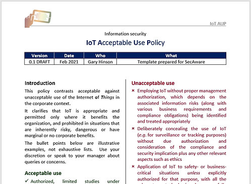 IoT Acceptable Use Policy
