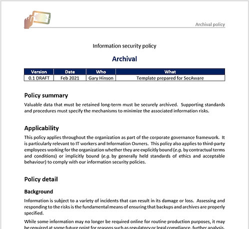 Archival policy