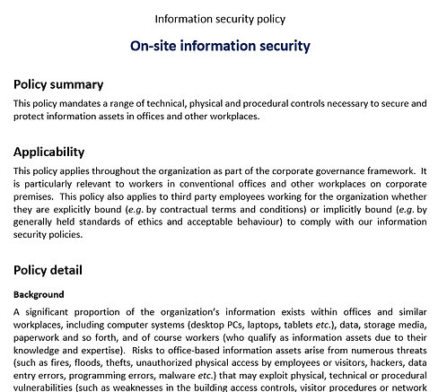 On-site information security policy