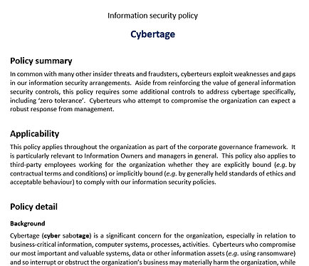Cybertage policy