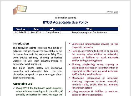 BYOD Acceptable Use Policy
