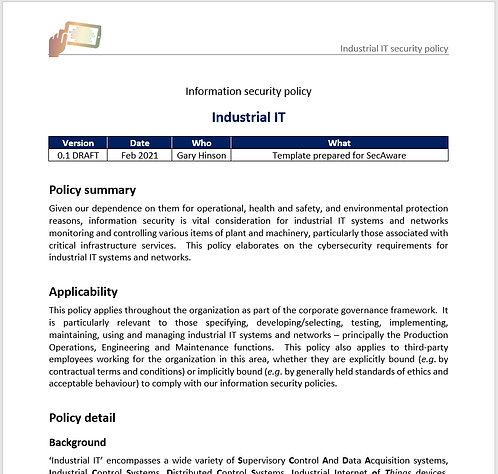 Industrial IT security policy