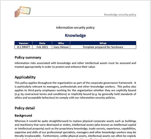 Protecting knowledge policy