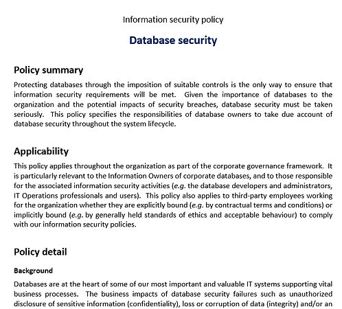 Database security policy