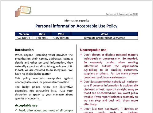 Personal information Acceptable Use Policy