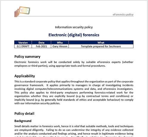eForensics (digital forensics) policy