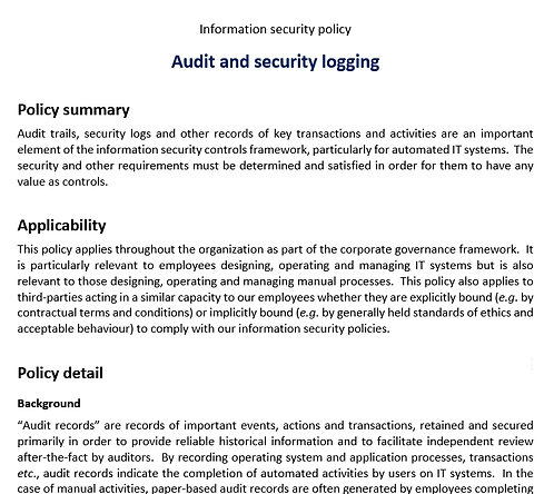 Audit and security logging policy