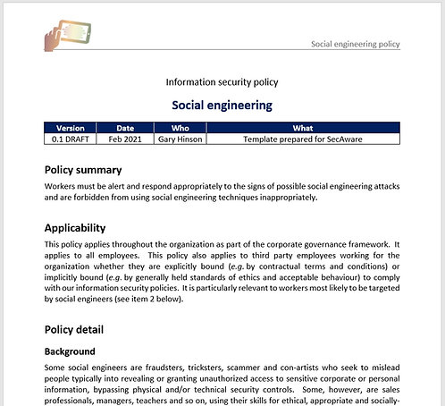 Social engineering policy