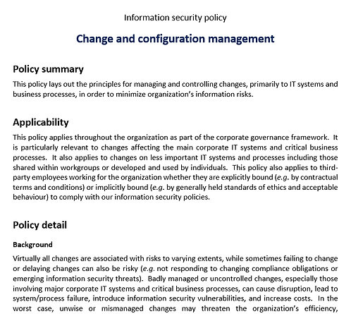 Change and configuration management security policy