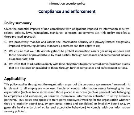 Compliance and enforcement policy