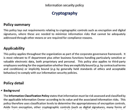 Cryptography policy