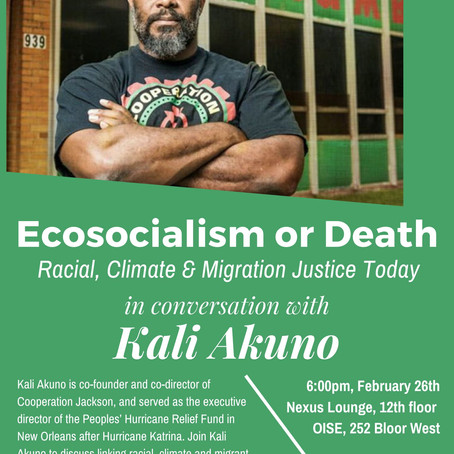 Event. Race, Climate, Migration Justice Today, with Kali Akuno from Cooperation Jackson