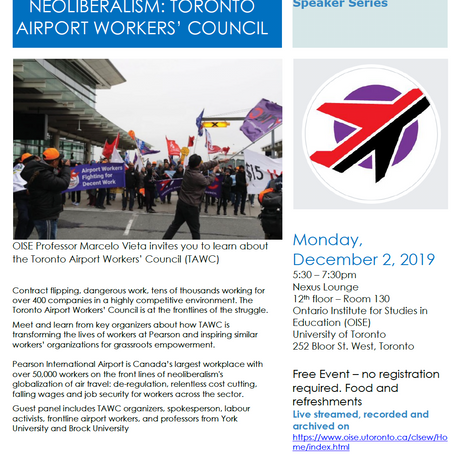 Event. Pearson Airport Workers Organize to Confront Neoliberalism: Toronto Airport Workers' Council