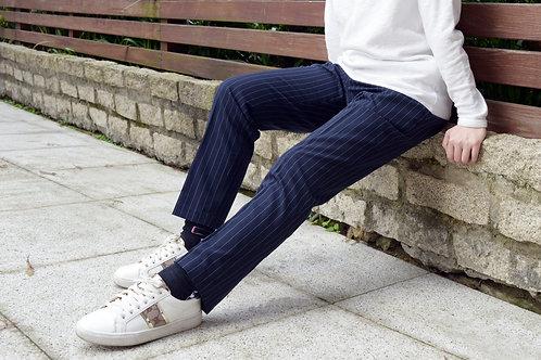 抽繩直條紋休閒西裝褲