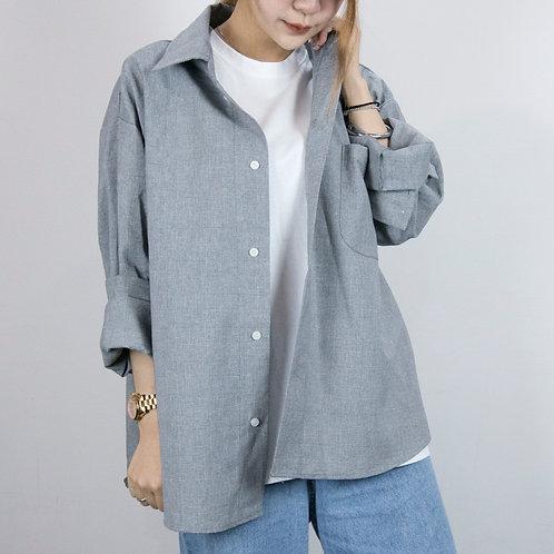 2色|落肩寬版襯衫型軟料薄外套