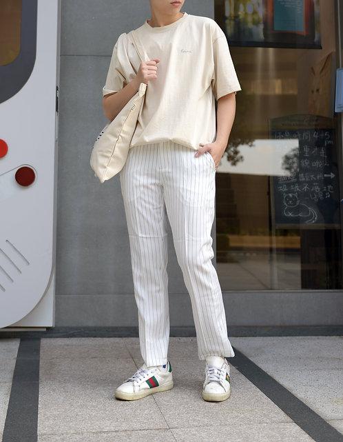2色 條紋休閒西裝褲