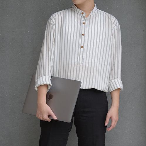 雙色三線雪紡襯衫