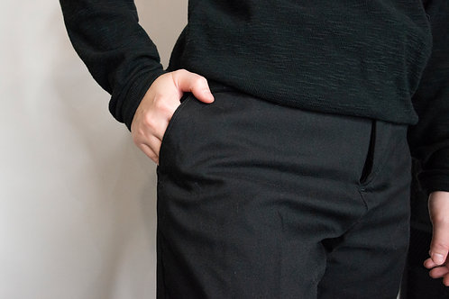 厚板西裝褲-黑
