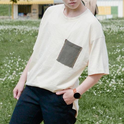 2色|隨性粗縫口袋T