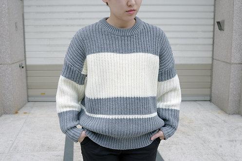灰白寬線條針織毛衣