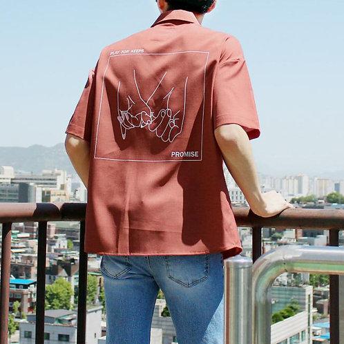 預購|Promise手拉手短袖襯衫-煙粉