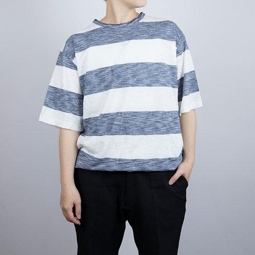 寬條紋灰藍T
